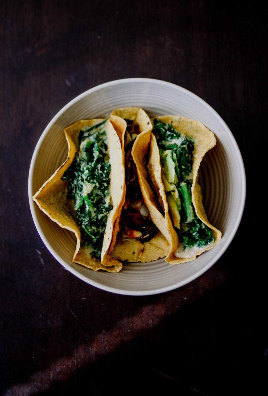tacos | vegan creamy kale - inspo link // leek and mushroom sauté - inspo link