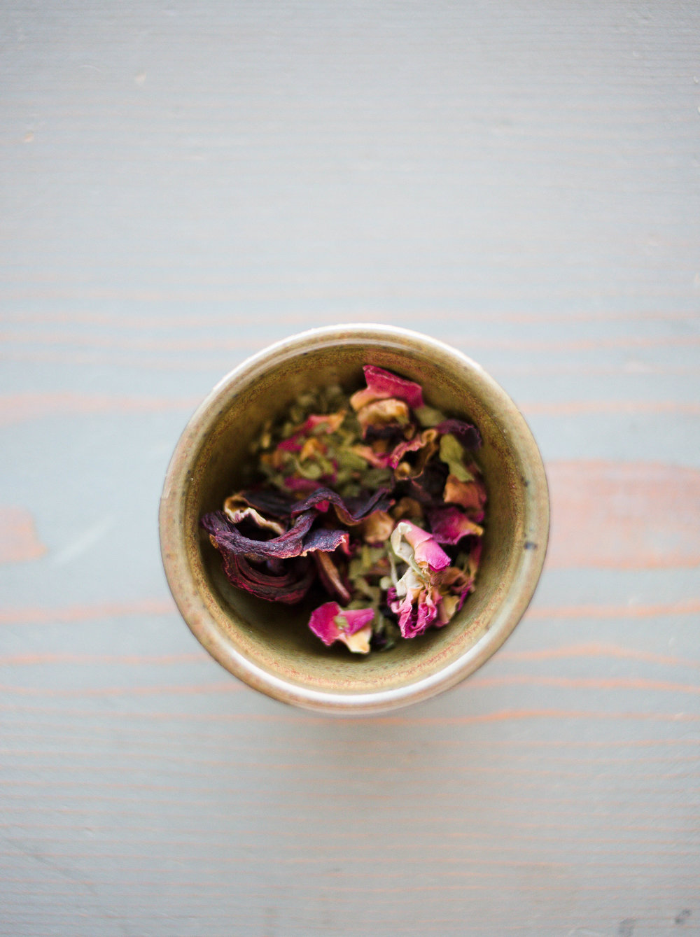 Homemade tea blend: spearmint leaves, rose petals, hibiscus petals