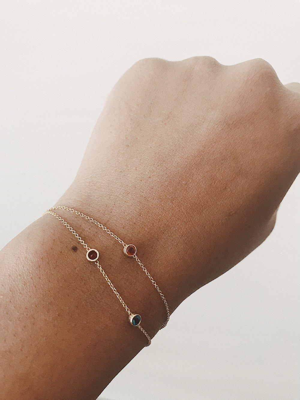 these   birthstone bracelets.