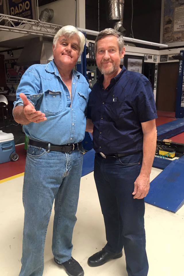 Tom with Jay Leno at his private collection in California.