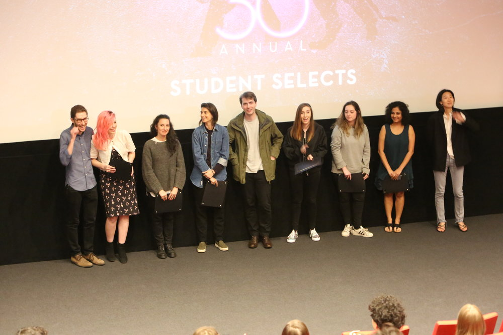 (Ursula and the other IFP Audience Choice Award winners accepting their awards from IFP Program Manager & Producer, Zach Mandinach, at the 2017 Columbia University Film Festival.)