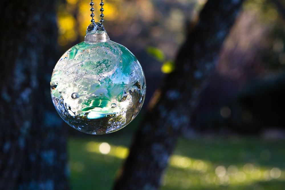 Memorial Tree Ornament, Solid Glass can be Engraved with name of loved one.