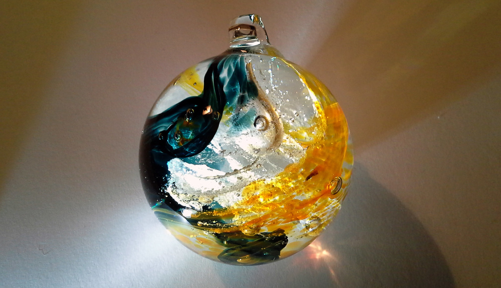 Glass Memory Bereavement Orb with Cremation Ash