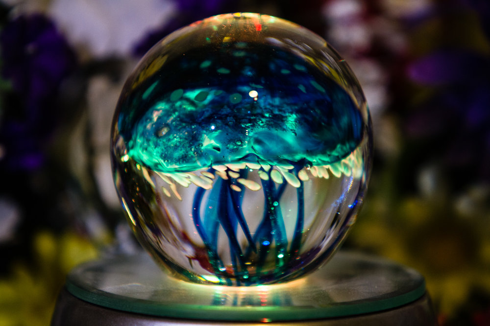 Illuminated Jellyfish Paperweight With Infused Cremation Ashes Glass Cremation Urns