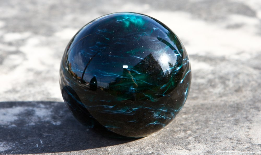 Turquoise Glass Memorial Paperweight Orb With Cremains Ash