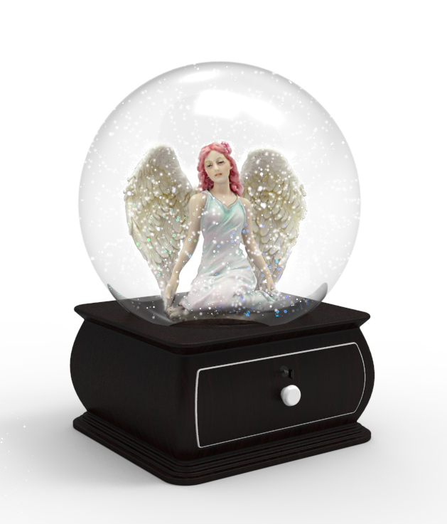 Our first musical snow globe!  Ashes will go in a secure drawer and a music box sits within the underside.  About 6 inches in total width; 8 in total high.