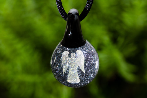 Glass pendants glass cremation urns paperweights and memorial jewelry angel hologram pendant with infused cremation ash aloadofball Choice Image