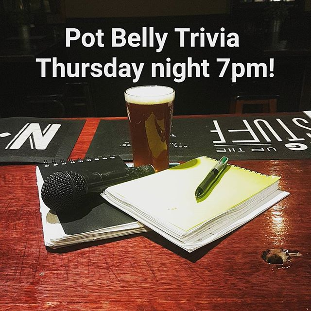 Come on down to Pot Belly this Thursday night for Trivia! Also to farewell your favourite quizmaster as he goes on holiday for a month! #trivia #trivianight #potbellybar #uselessfacts #craftnotcrap #belconnen #brewpub #craftbeer #handsomequizmaster