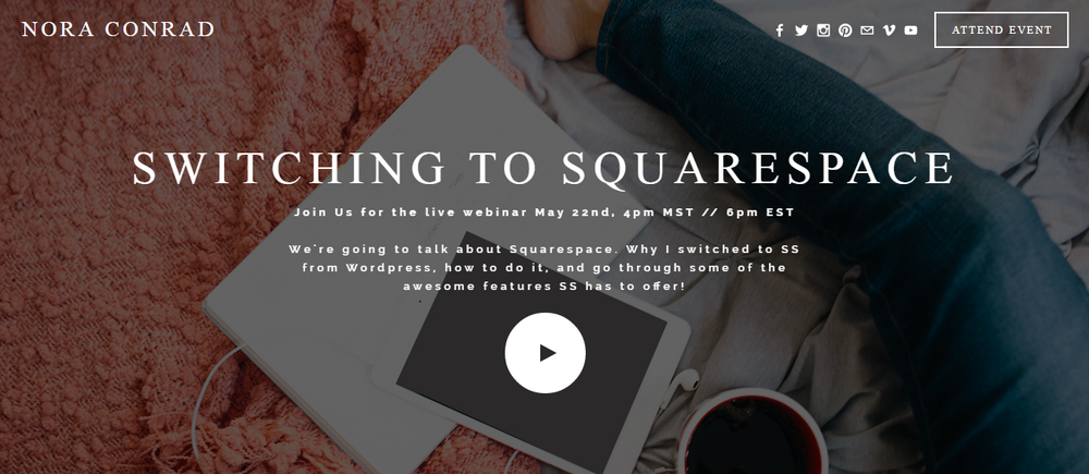 Join me Friday May 22 at 4pm MST for a free webinar about switching to squarespace. If you're seeing this after that date, you can still watch the video from the webinar on the page or on my YouTube channel!