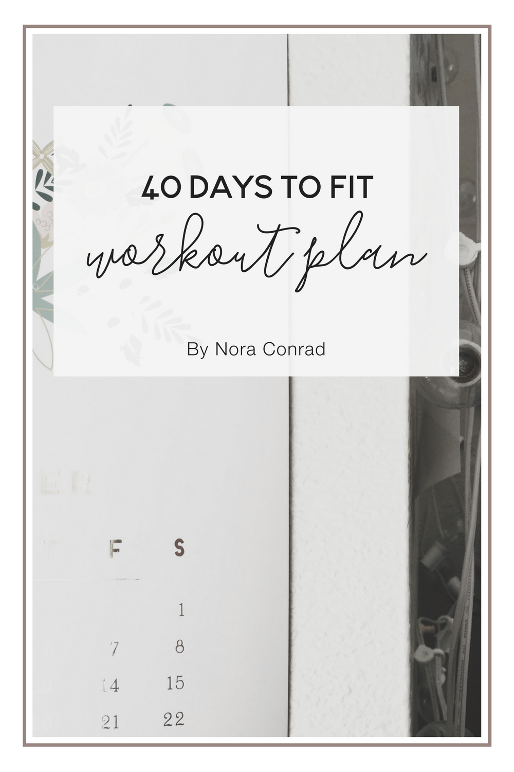 Ready to jump start your work out in just 40 days? This 40 day plan will help you get in shape and get into the habit of working out.