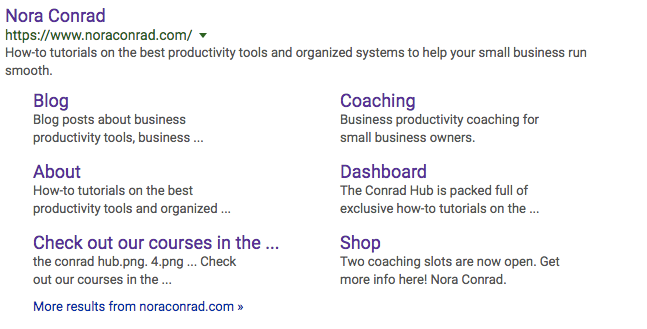 How to improve SEO google results example for noraconrad