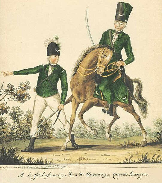 Queens Rangers Light Infantry and Hussar, as they appeared in the 1780s.