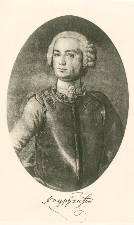 Lieutenant General Wilhelm von Knyphausen of Hesse-Kassel, commander of the column in which the Brigade of Guards marched northward from Brandywine.
