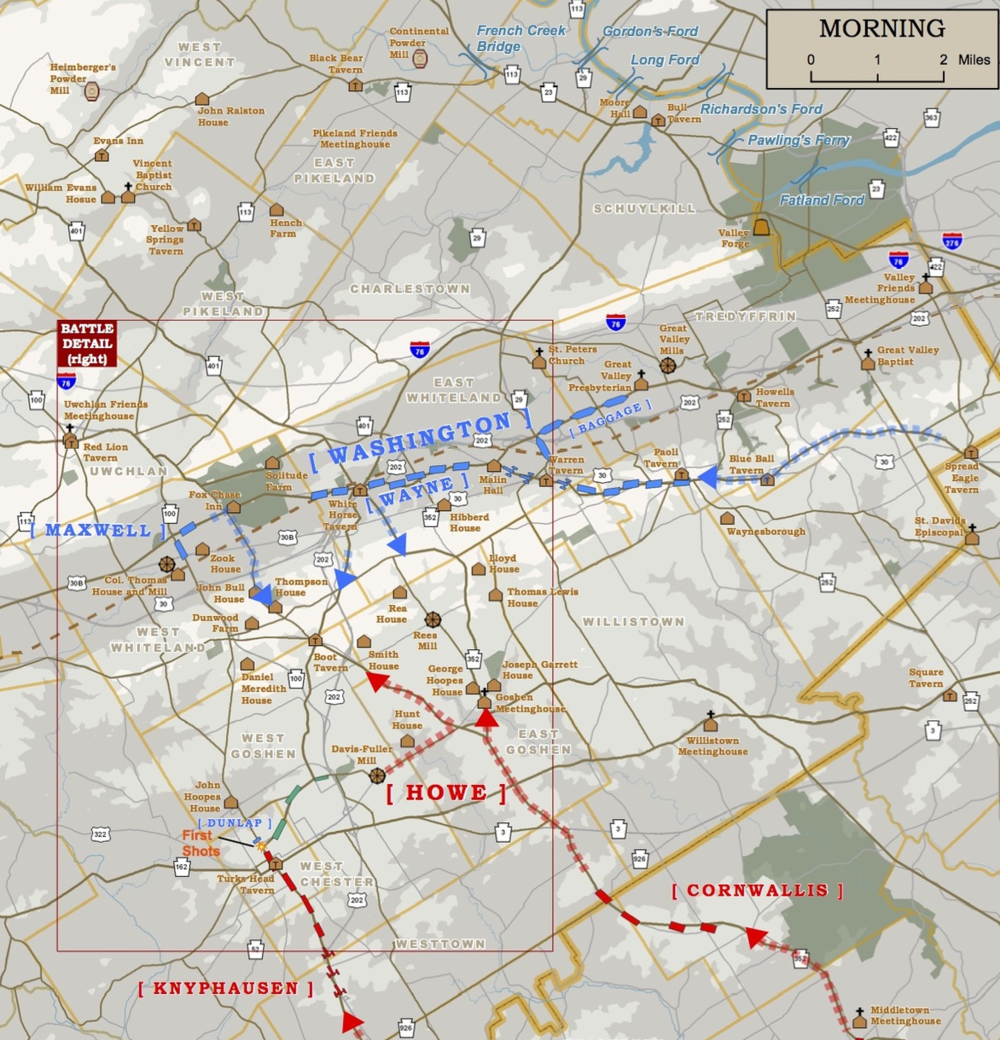 The Brigade of Guards advances northward in Knyphausen's column (bottom left).  Map courtesy of Western Heritage Mapping.