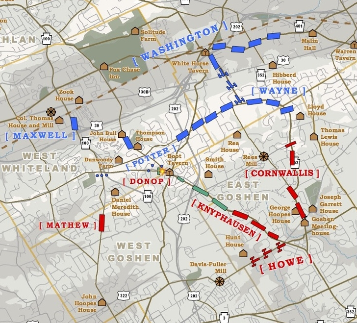 The Brigade continues to pursue as a larger skirmish occurs to the East at Boot Tavern.  Map courtesy of Western Heritage Mapping.
