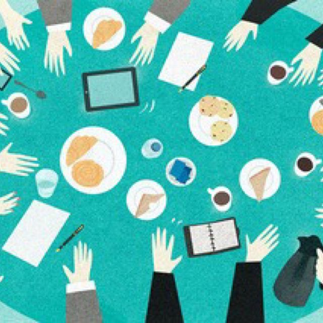 Meetings, food & getting stuff done - seems familiar!  Amazing illustration by @marcusbutt_ 👏🏻