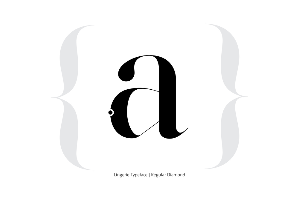 Lingerie Typeface Regular Diamond style by Moshik Nadav Typography