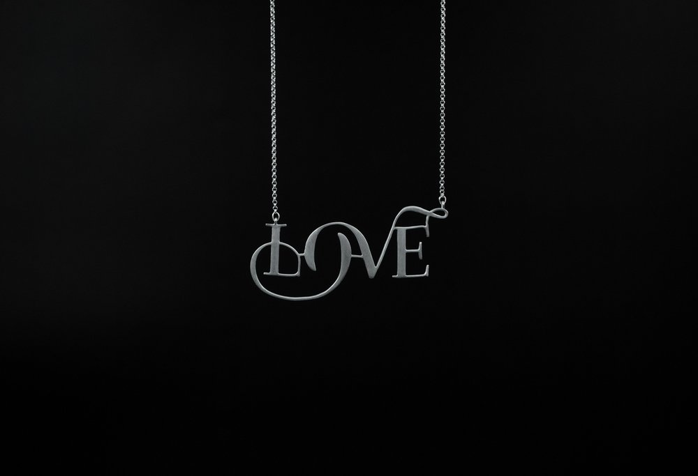 Love typography silver necklace by moshik nadav