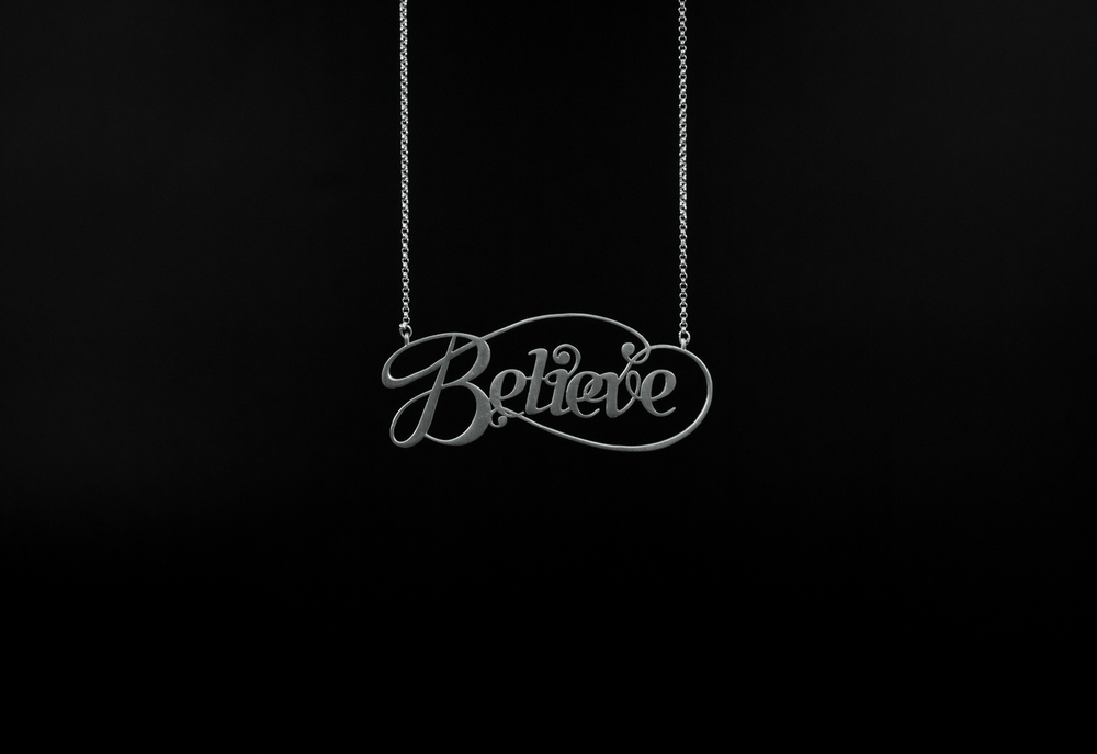 believe silver typography jewelry by moshik nadav nychttp://www.moshik.net/buy/silver-believe-typographic-necklace-moshik-nadav-typography