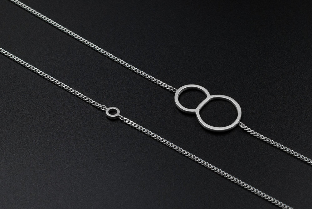 eight with circle typography silver necklace moshik nadav nyc