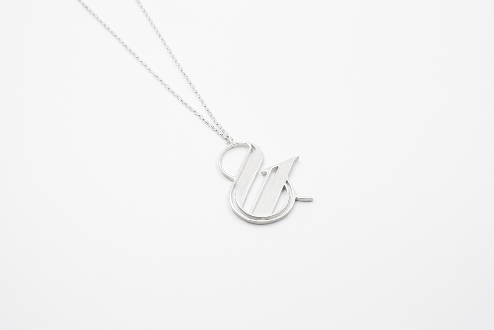 paris pro silver ampersand necklace moshik nadav typography
