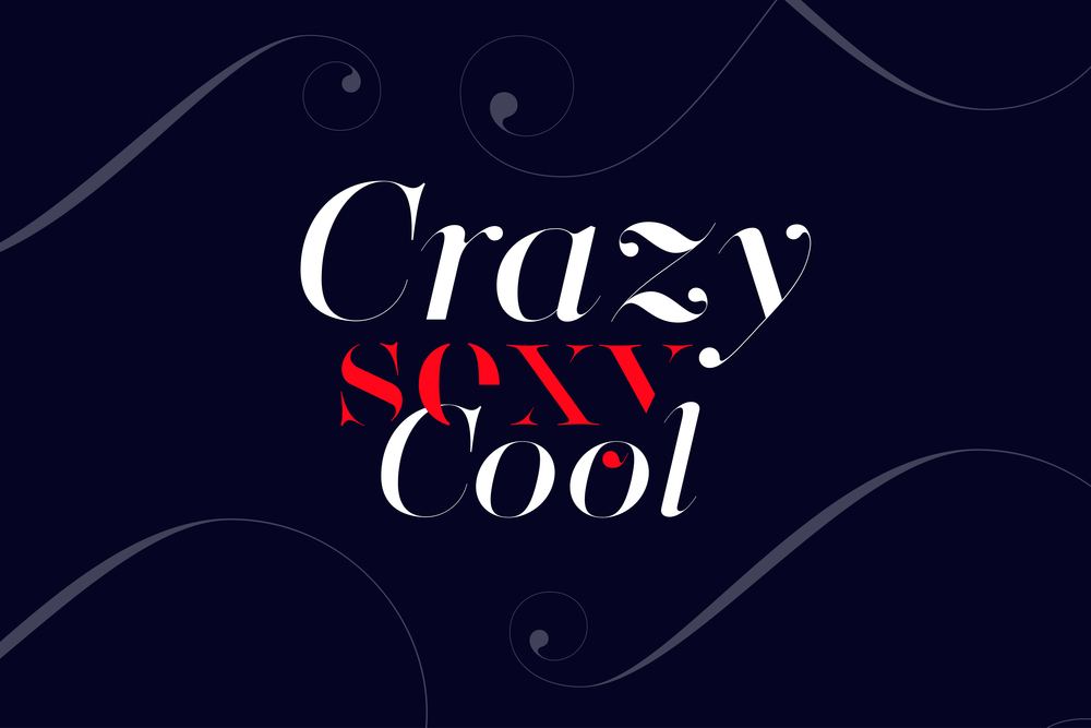 crazy sexy cool font made with Lingerie Typeface - Fashion magazine font by Moshik Nadav Typography