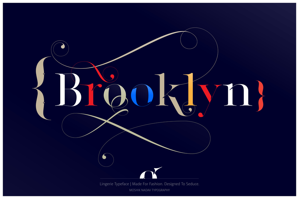 Brooklyn type made with Lingerie Typeface - Fashion magazine font by Moshik Nadav Typography