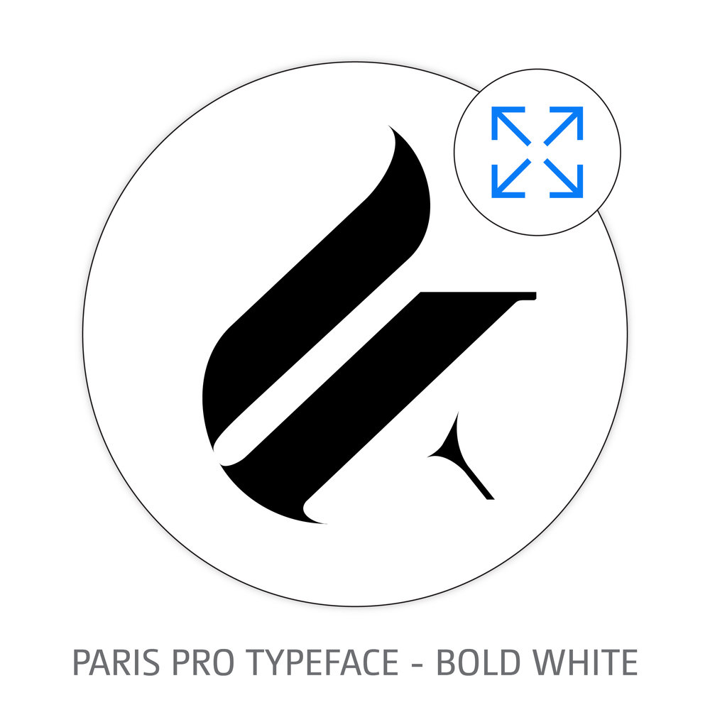 PARIS PRO TYPEFACE BOLD WHITE