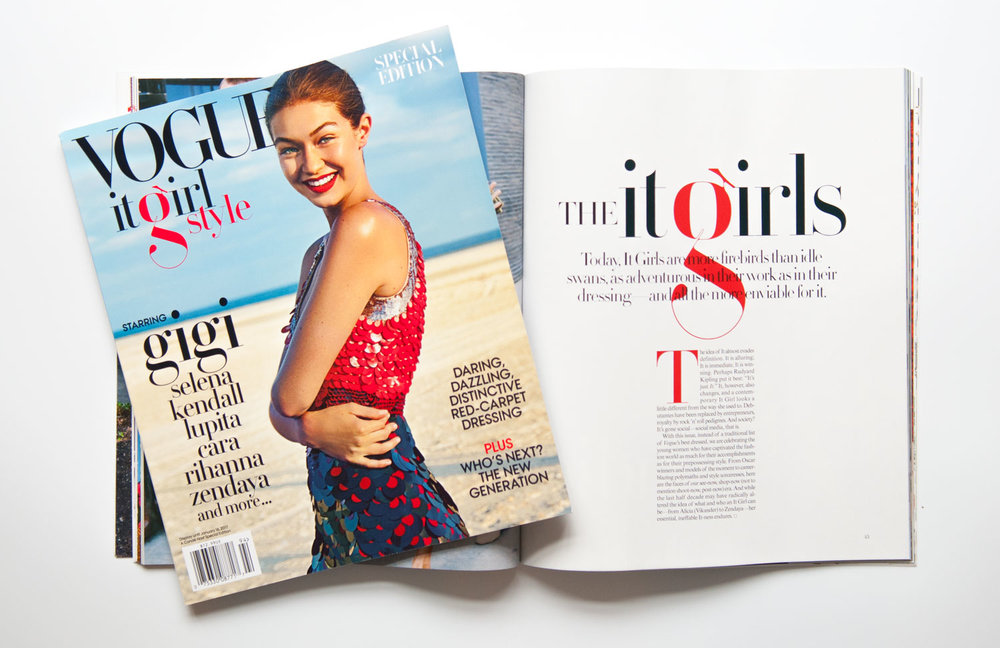 Vogue magazine lowercase g cover Moshik Nadav Typography