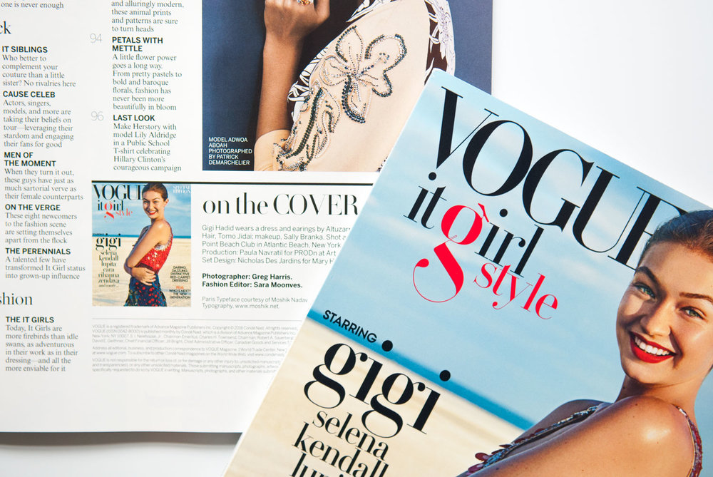 Vogue magazine credit to Moshik Nadav Typography