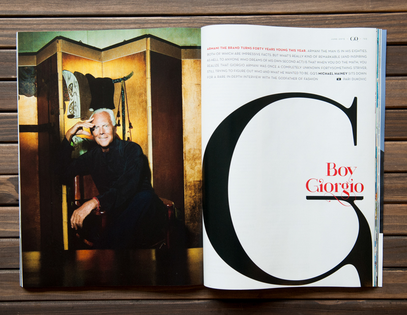 Paris Pro Typeface Uppercase and alternate lowercase g infuse by GQ magazine next to Giorgio Armani