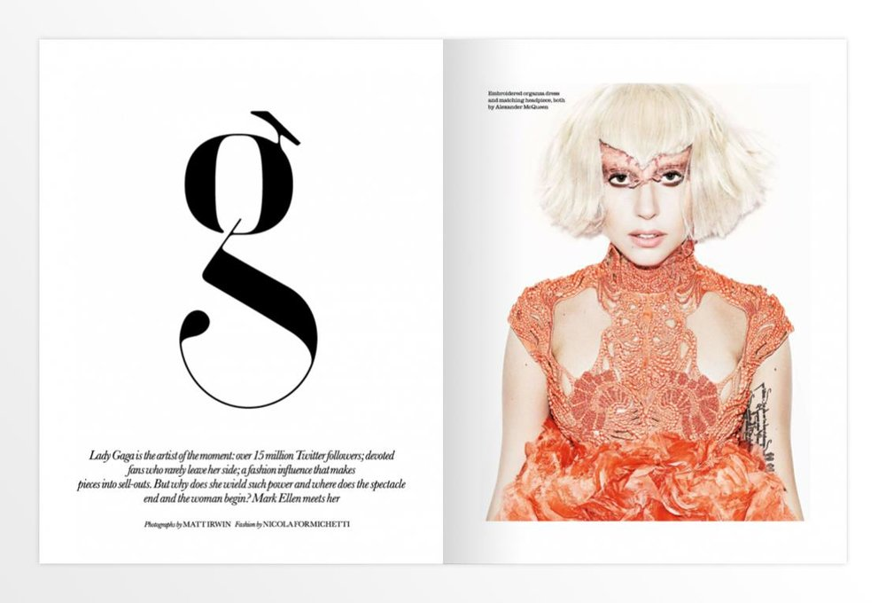 Paris Typeface Lowercase g in use by ELLE UK next to the Diva Lady Gaga