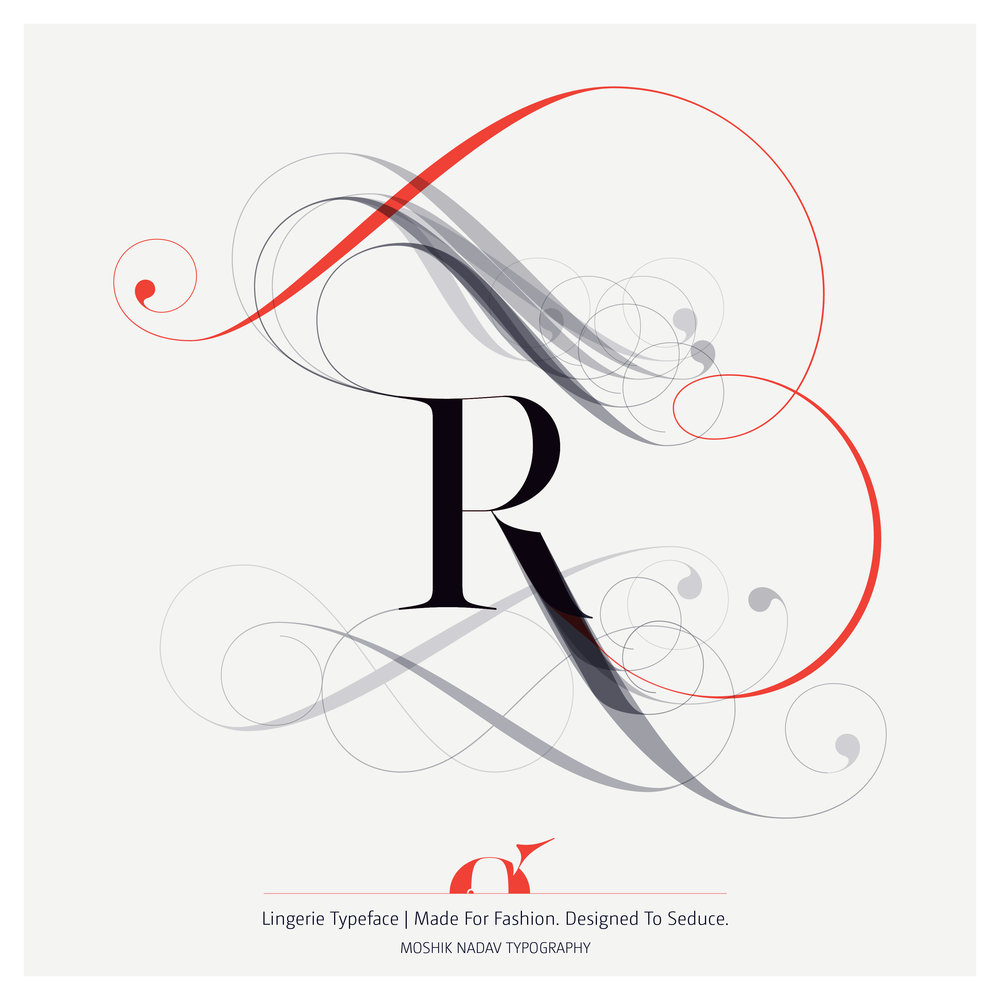 Uppercase R for Fashion magazine typography