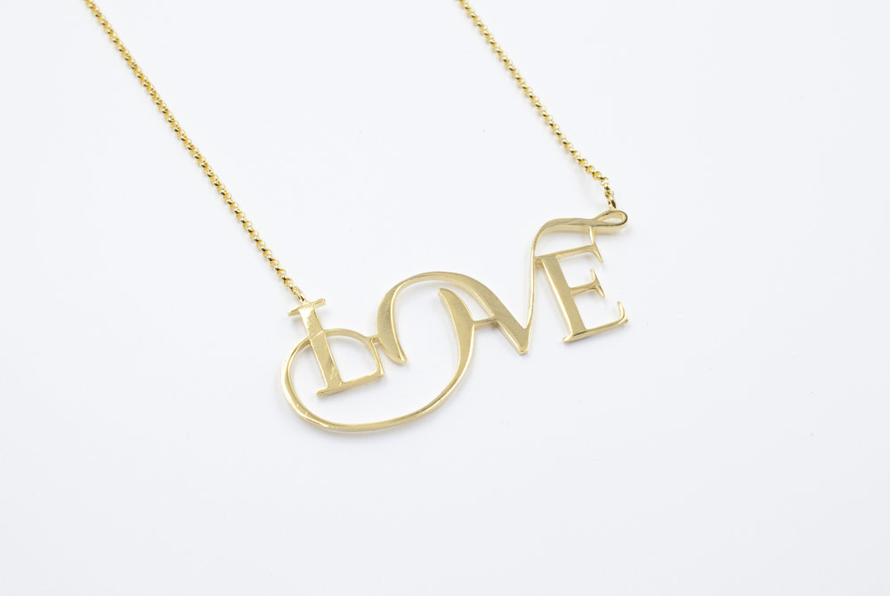 Gold Plated Love necklace. Unique and Special necklace by Moshik Nadav Typography. Buy Now