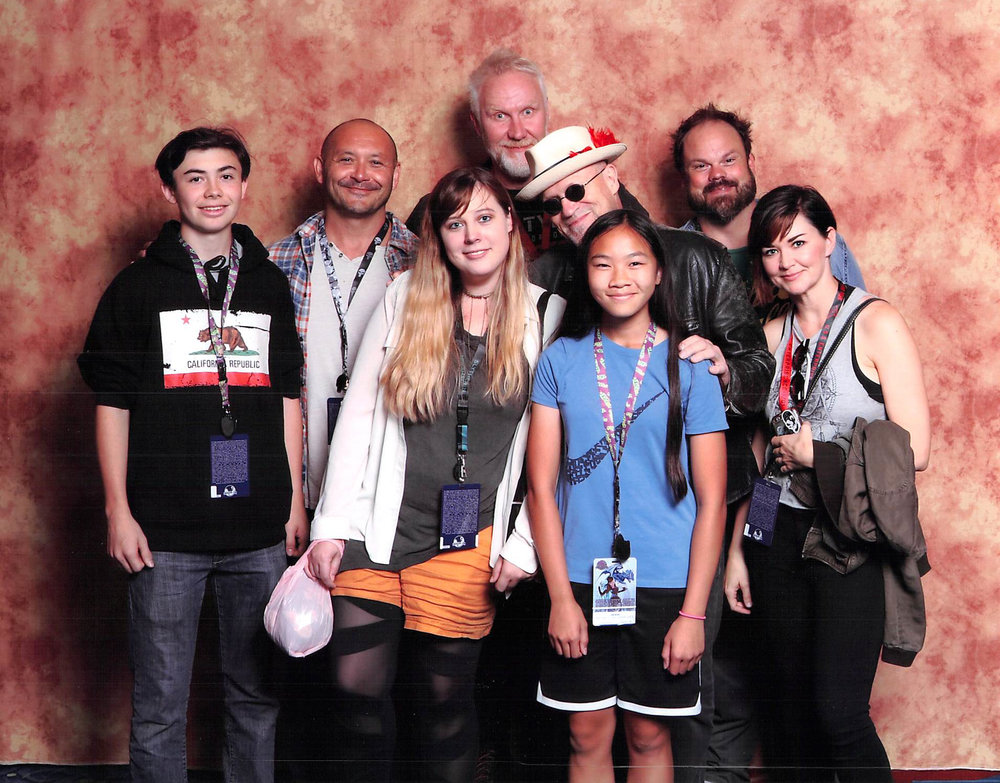 Kelly along with fellow GotG2 crew members (and family) visiting Michael Rooker at Dragon Con