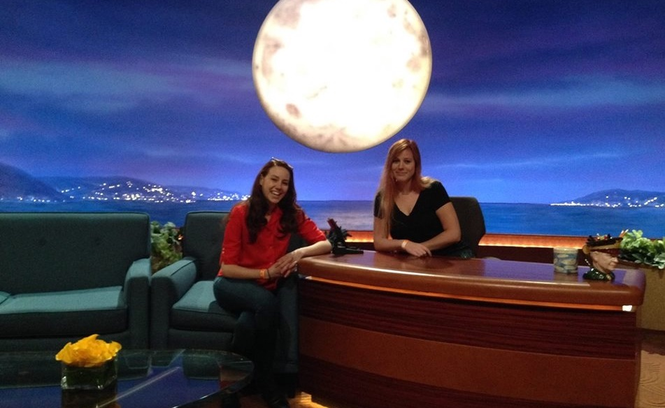Kelly and her friend Karlyn Koebe on the set of Conan