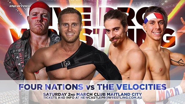 Newcastle Pro Wrestling - Club Maitland City - 2nd of March  MATCH ANNOUNCEMENT  The Four Nations vs The Velocities  Somewhat of a rematch between factions the Four Nations and the Velocities, the Nations will be looking to pick up a win over the current INVICTUS Gauntlet holders.  Tickets available from newcastleprowrestling.com.au/tickets  Event Information Saturday 2nd March 2019 Doors Open : 6:30pm Showtime : 7:30pm Club Maitland City  #newypro #SSS #carterdeams #clubmaitlandcity #wrestling #australia #newcastleprowrestling