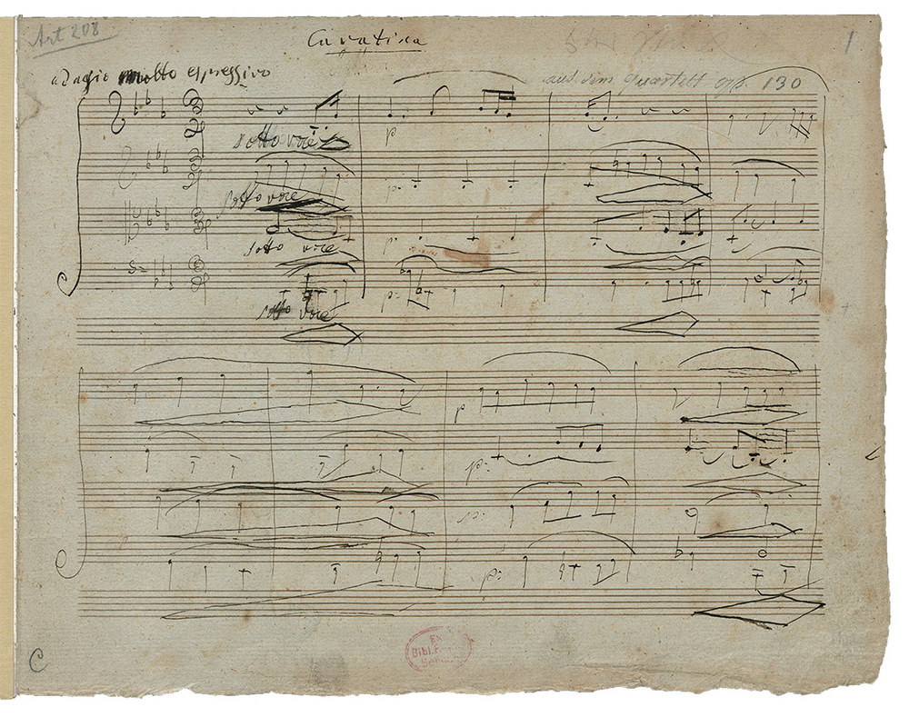 The manuscript of Beethoven's String Quartet n°13 in B flat major, Op. 130/5