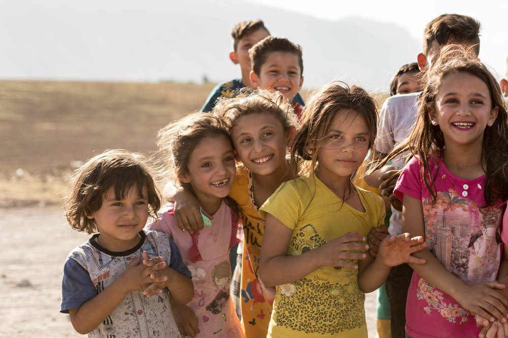 Yazidi children from Shingal at their camp in Azadi, Iraqi Kurdistan (June 2017)