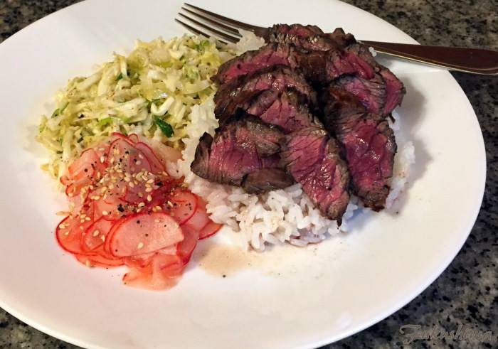 Marinated Hanger Steak, with California slaw, and quick pickled radishes