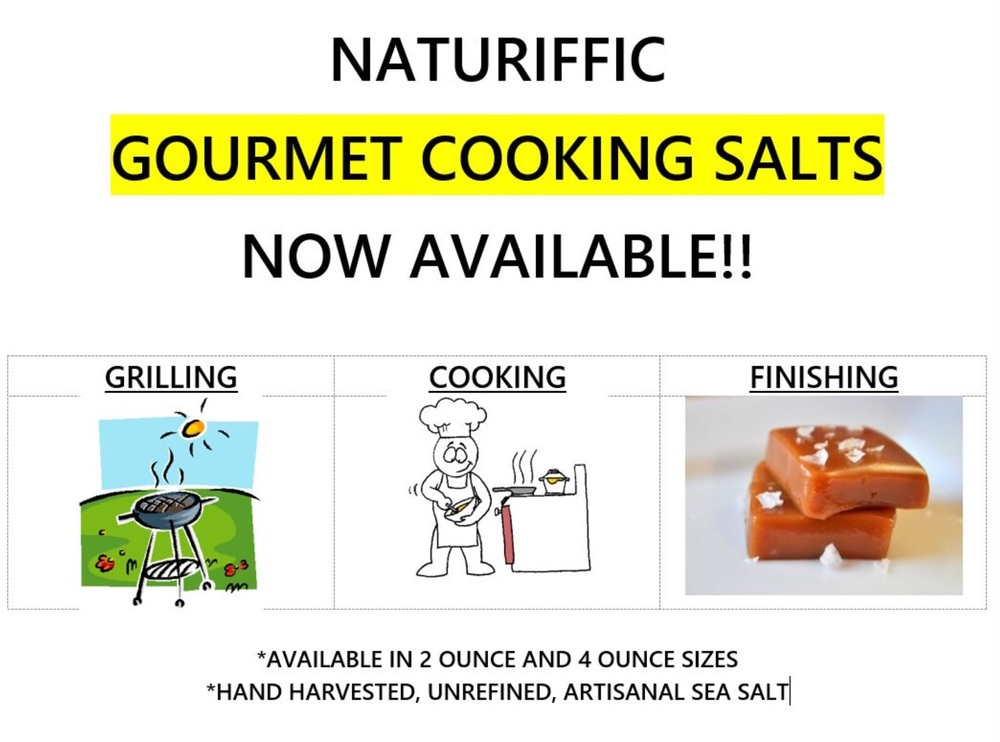 Sign announcing our Gourmet Cooking Salts on our booth at Elk Grove Red, White & Blue Festival
