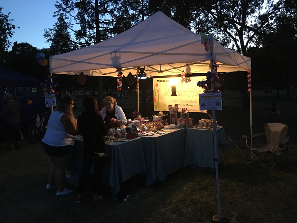 Naturiffic booth at night (right before the fireworks!)
