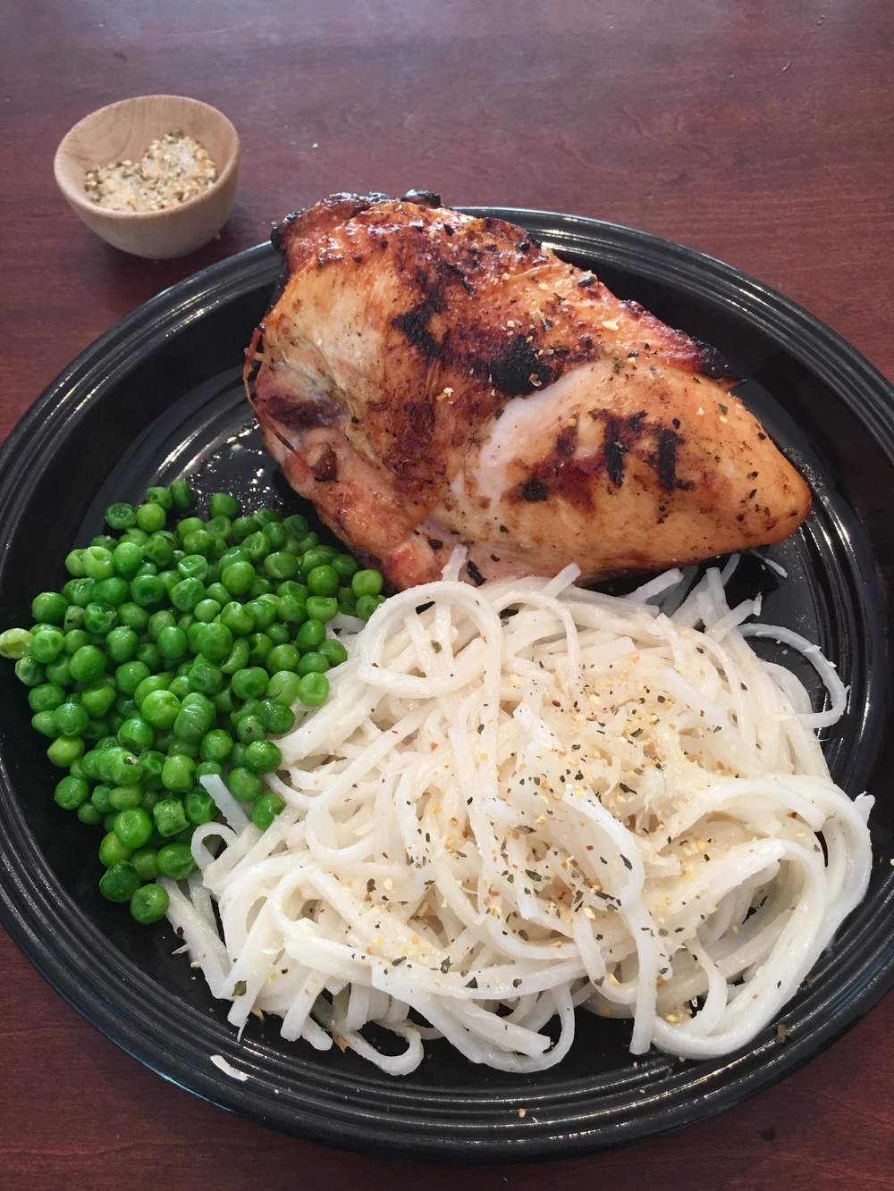 Grilled Chicken served with Thai Rice Noodles and Peas