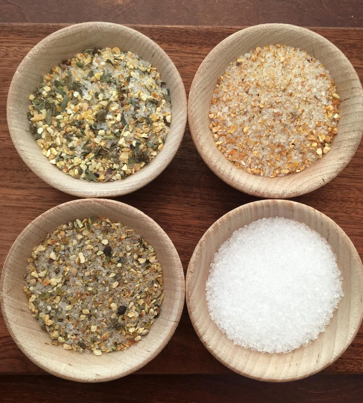 Clockwise from top left:  Garlicky Lemon ,  Gingery Orange ,  Trapani Sea Salt ,  Peppery Lime