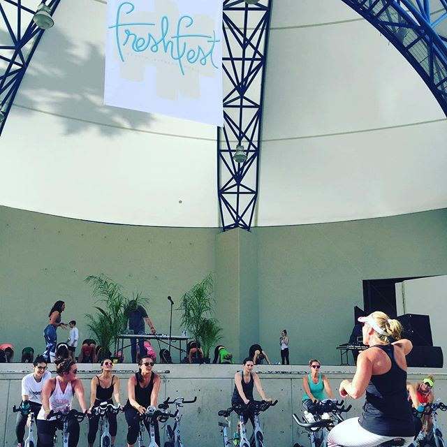 Freshfest 2018! Come sweat with us today! • • • #workout #music #festival #downtownwpb #freshfest18 #findyourfresh #westpalmbeach #cyclinglife