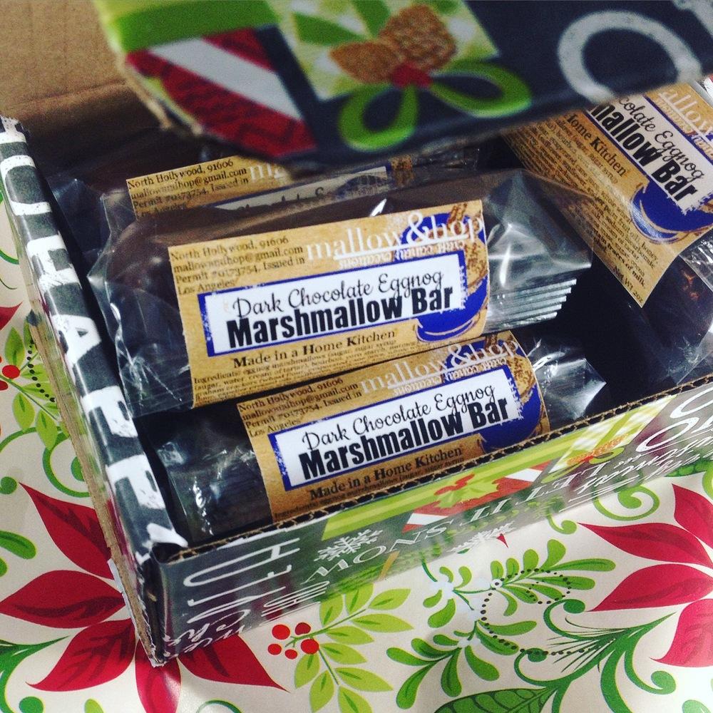 Dark Chocolate Eggnog Marshmallow Bar