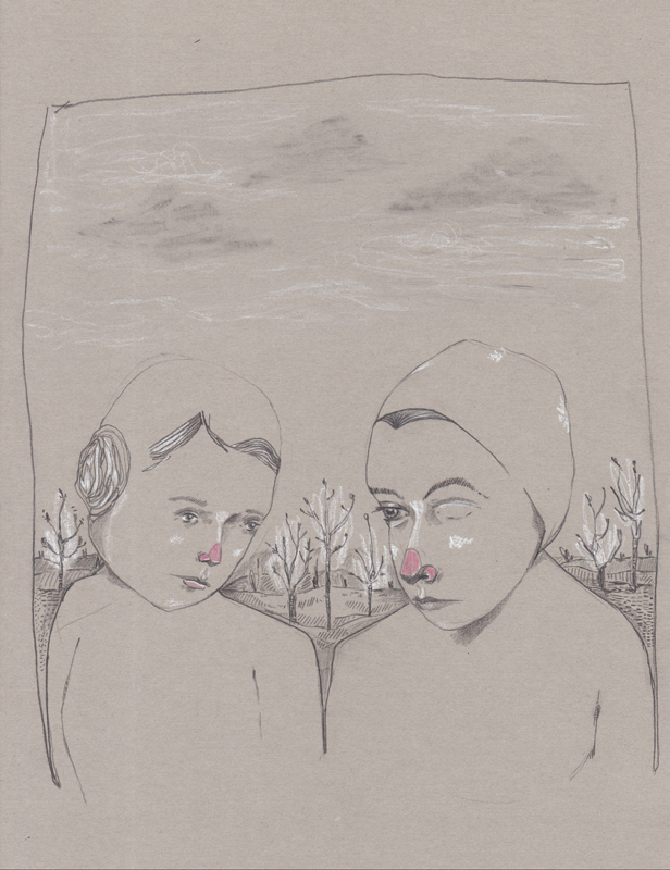 Poortrait 001.  2015.                                                                                           Graphite, chalk pencil, colored pencil, grey linen paper. Available for purchase.