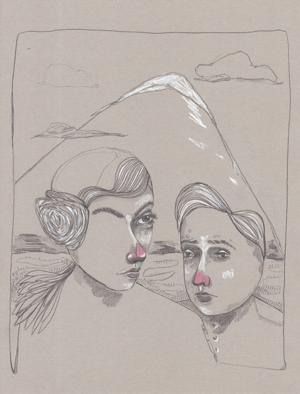 Poortrait 002. 2015.                                             Graphite, chalk pencil, colored pencil, grey linen paper.Available for purchase.