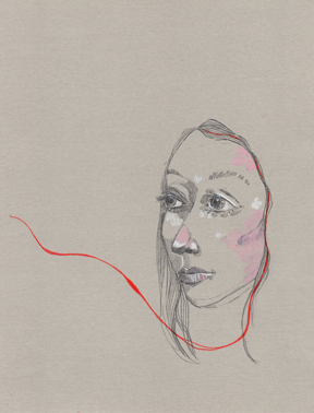 Poortrait 005. 2015                                                              Graphite, chalk pencil, colored pencil, grey linen paper. Available for purchase.