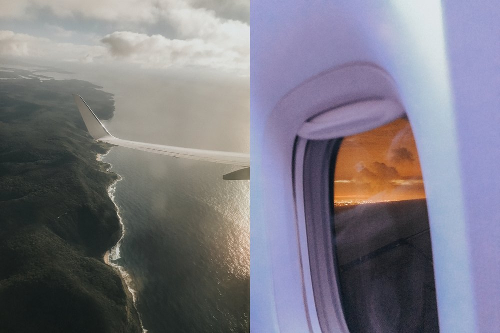 Taking off in Sydney on a Tuesday morning (L), arriving in LAX at sunrise (R) the same Tuesday morning.  Travelling across the dateline is so weird.